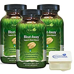Irwin Naturals Bloat-Away Relief Water Balance Support Replenish Electrolytes & Essential Minerals – 60 (180 Total) Soft-Gels – 3 Pack Bundle with a Lumintrail Pill Case