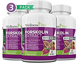 Pure Forskolin 3000mg Max Strength – Forskolin Extract for Weight Loss – Premium Appetite Suppressant, Metabolism Booster, Carb Blocker & Fat Burner for Men and Women – 3 Pack