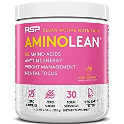RSP AminoLean – All-in-One Pre Workout, Amino Energy, Weight Management Supplement with Amino Acids, Complete Preworkout Energy for Men & Women, Pink Lemonade, 30 (Packaging May Vary)