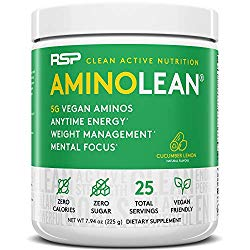 RSP Vegan AminoLean – All Natural Preworkout with Vegan BCAAs, All-In-One Amino Energy, Weight Management, Recovery, and Focus, 25 Serv, Cucumber Lemon